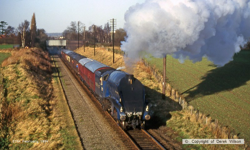 940227-003  LNER A4 4-6-2 No 4498 Sir Nigel Gresley passing Woodthorpe on the Great Central Railway.
