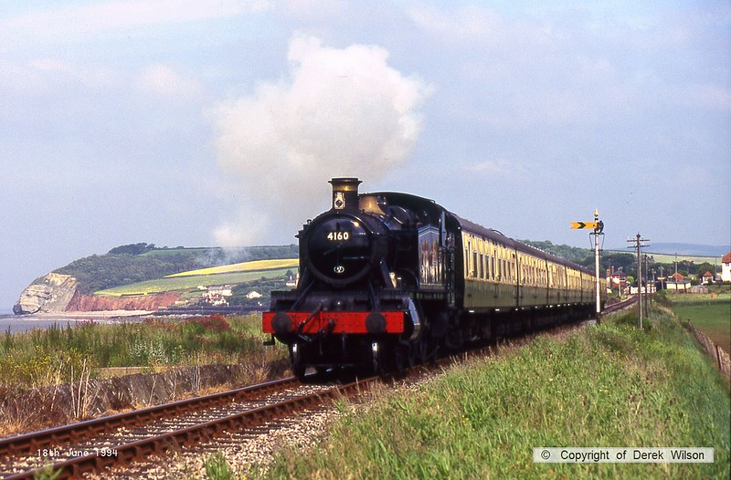 940618-002  Great Western Railway GWR 51XX 2-6-2T No 4160 is captured passing Blue Anchor Bay, West Somerset Railway.
