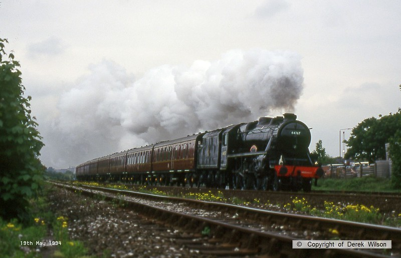 940519-004  LMS Black Five 5MT 4-6-0 No 44767 George Stephenson passing Breadsall, Derby.