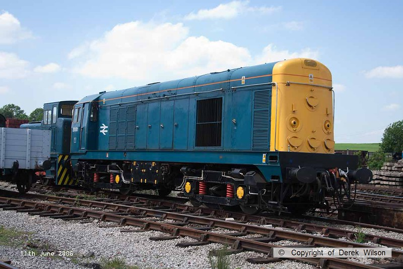 060611-005     Ex BR class 20 no 20001 in BR blue livery with small logo, seen at Swanwick, Midland Railway Centre.
