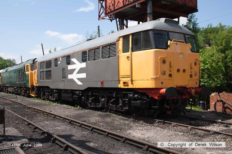 060611-004     Ex BR class 31 no 31108 in grey civil engineers livery, seen at Swanwick, Midland Railway Centre.