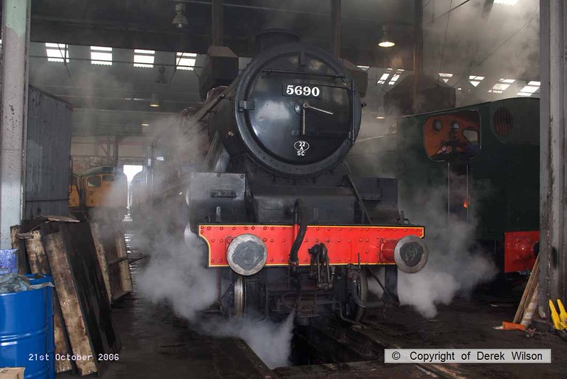 061021-001     LMS Jubilee 4-6-0 no 5690 Leander is seen coming out of the roundhouse at Barrow Hill.