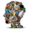 44154457 - recycling ideas and environmental garbage management solutions and creative ways to reuse waste as old paper glass metal and plastic bottles shaped as a human head as a symbol for reusable thinking and conservation advice.