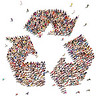 29840805 - people that recycle   large group of people in the shape of a recycle symbol that support environmental change