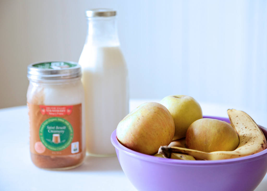 Ingredients for Apple Banana Yogurt Smoothie