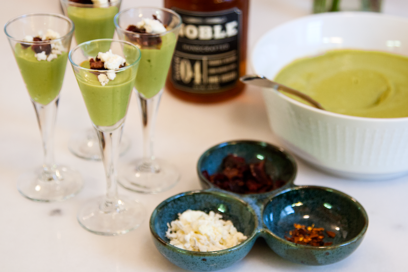 Serve Chilled Plum Avocado Soup with crumbled Feta, Bacon Bits, Crushed Red Chili Pepper, and choice of Cultivar Wine Crushed Lemon Olive Oil or Noble Meyer Lemon Vinegar.