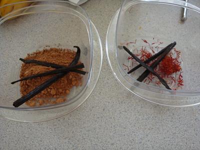 Saffron Vanilla and Chocolate Vanilla preparations