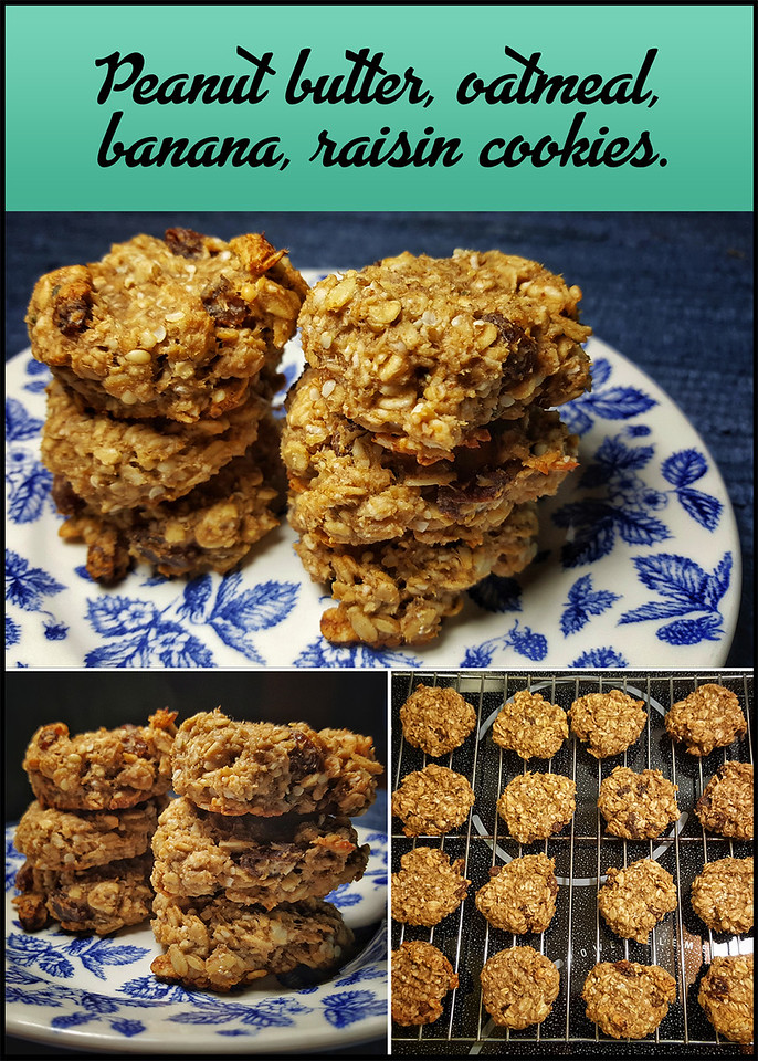 Peanut butter, oatmeal, banana & raisin cookies