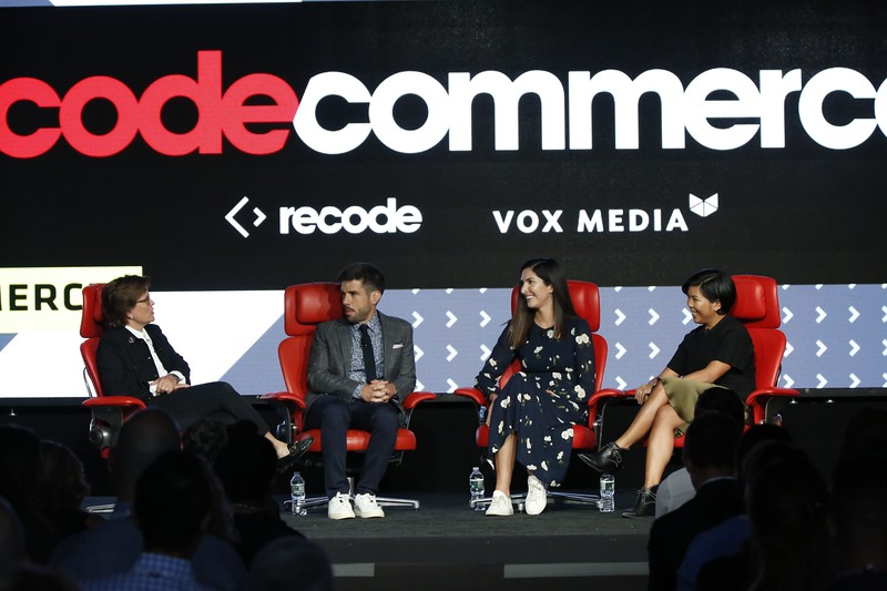 Recode Senior Commerce Correspondent Jason Del Rey and Editor at Large Kara Swisher interview Away's Jen Rubio, Co-Founder and Chief Brand Officer, and Steph Korey, Co-Founder and CEO, at Recode's Code Commerce 2019. Photo credit: Keith MacDonald for Vox Media