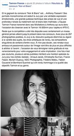 """Lauréat du concours """"noir et blanc"""" organisé par Tamron France"""