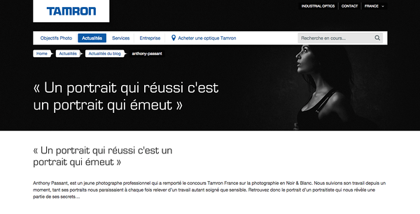 """Interview sur le site de Tamron France suite au concours """"Noir et blanc"""""""