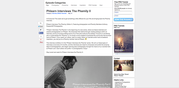 "Interview ""Phamily"" pour le site américain Phlearn.com"