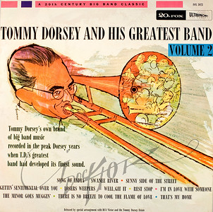 Record album, Tommy Dorsey and His Greatest Band Vol. 2 (20th Century Fox FOX 3023, 1959). Illustration by Irv Docktor
