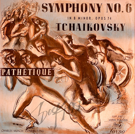 """Record album, Pyotr Ilyich Tchaikovsky, Symphony No. 6 (""""Pathetique"""") (London LLP 257). Illustration by Irv Docktor"""