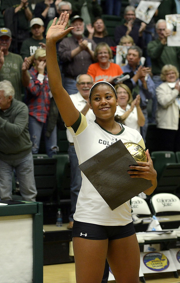 Colorado State senior Jasmine Hanna waves to the crowd after a post-match presentation for her becoming the program's all-time kills leader. She led the No. 21 Rams with 13 kills in a sweep of San Jose State at Moby Arena, giving her 1,074 for her career.