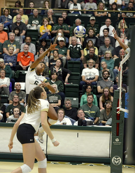 Colorado State senior Jasmine Hanna goes up for the attack during Thursday's match with San Jose State at Moby Arena. Hanna had 13 to become the team's all-time kills leader with 1,074 in the sweep by the No. 21 Rams.