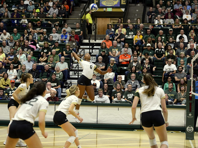 Jasmine Hanna of Colorado State eyes a set from Katie Oleksak during Thursday's match with San Jose State at Moby Arena. Hanna had 13 to become the team's all-time kills leader with 1,074 in the sweep by the No. 21 Rams.