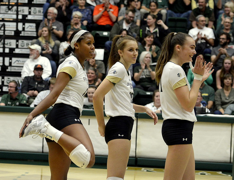 Jasmine Hanna (back) played it cool after delivering the 1,067th kill of her Colorado State career, but teammate Paulina Hougaard-Jensen (front) was applauding after the attack gave Hanna the career record in the modern scoring era Thursday night against San Jose State at Moby Arena.