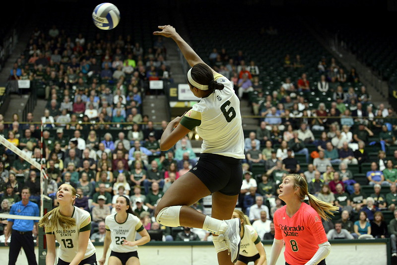 Colorado State's Jasmine Hanna goes up for the kill duriing Thursday's match against San Jose State at Moby Arena. Hanna had 13 to become the team's all-time kills leader with 1,074 in the sweep by the No. 21 Rams.