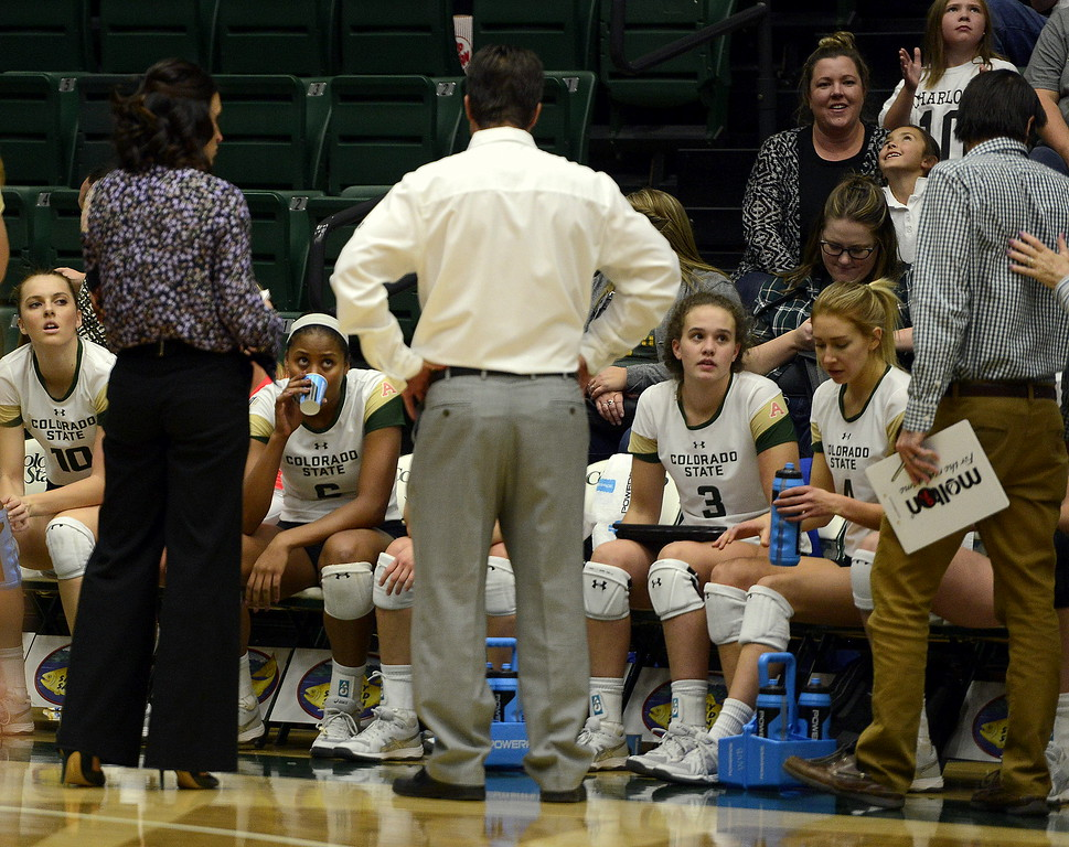 Jasmine Hanna (6) listens intently as Colorado State coach talks to the team during a timeout during Thursday's match with San Jose State at Moby Arena. Hanna had 13 to become the team's all-time kills leader with 1,074 in the sweep by the No. 21 Rams, giving Hilbert his 700th career win.