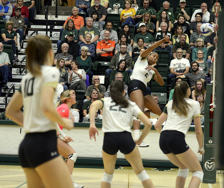 Colorado State senior Jasmine Hanna delivers a kill during Thursday's match with San Jose State at Moby Arena. Hanna had 13 to become the team's all-time kills leader with 1,074 in the sweep by the No. 21 Rams.
