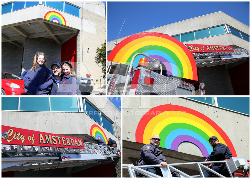 Amsterdam Firefighters joined the 518 Rainbow Hunt with the help of Leila Brooks, Ella Brooks and their dad Amsterdam firefighter Kenny brooks, Amsterdam Fire Battalion 4 attached the rainbow to the Amsterdam Public Safety Building on Friday