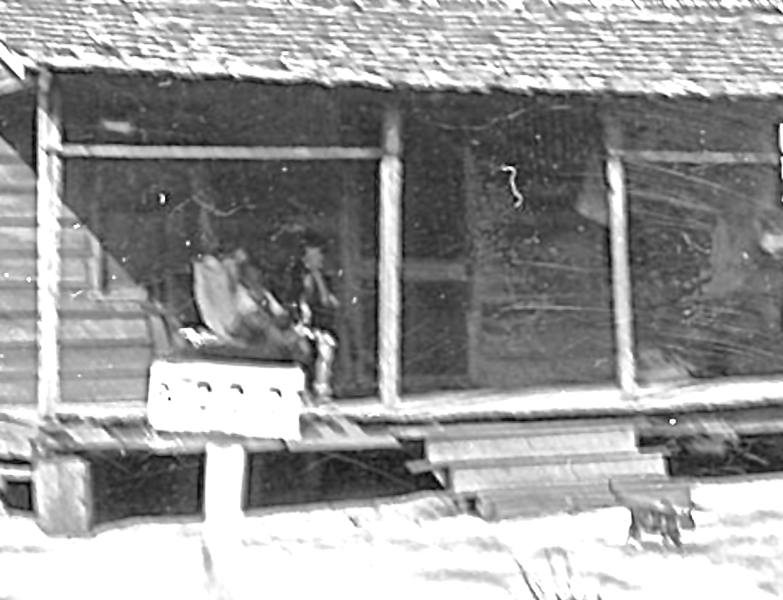 Detail of front porch photo.  There appear to be two children sitting together just above the survey sign.
