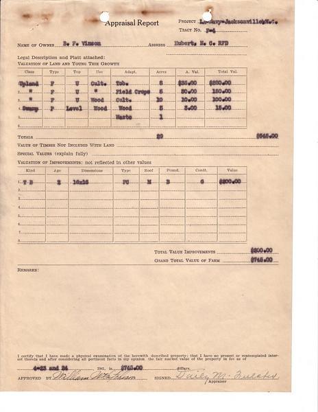 F4 B F  Vinson Appraisal
