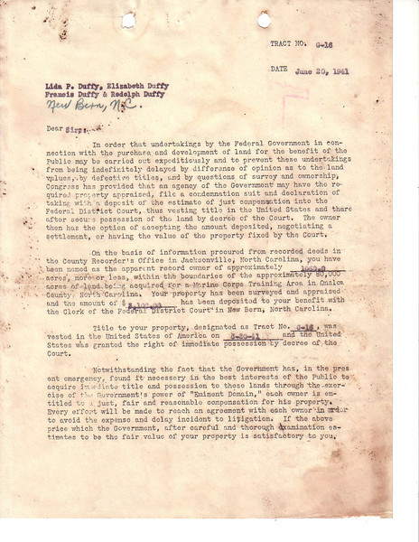 Form Letter Part 1<br /> Date: June 20 1941