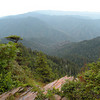 View from Cliff Tops looking toward Clingman's Dome in the distance and Mt. Buckley