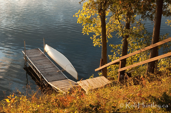 Dock and canoe.