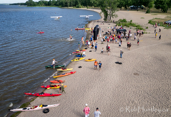 Support boats. Ottawa Riverkeeper 4K Swim. Kite aerial photograph.