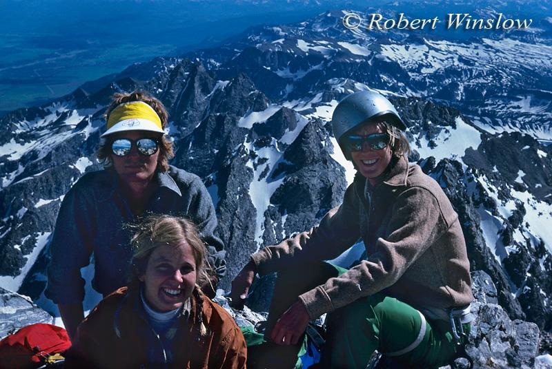 Climbers on Summit of the Grand Teton, Looking toward the South,  Grand Teton National Park, Wyoming, USA, North America