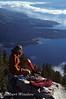 No Model Release, Female Climber Resting above Jackson Lake, Grand Teton National Park, Wyoming, USA, North America