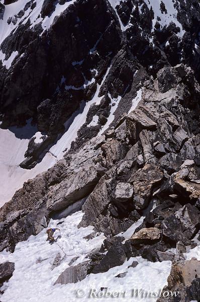 Mountaineering, Climber coming up snowfield on Grand Teton Climb, Grand Teton National Park, Wyoming, USA, North America