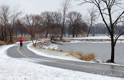 Jogging on the cycle path. First Snowfall in the Arboretum.