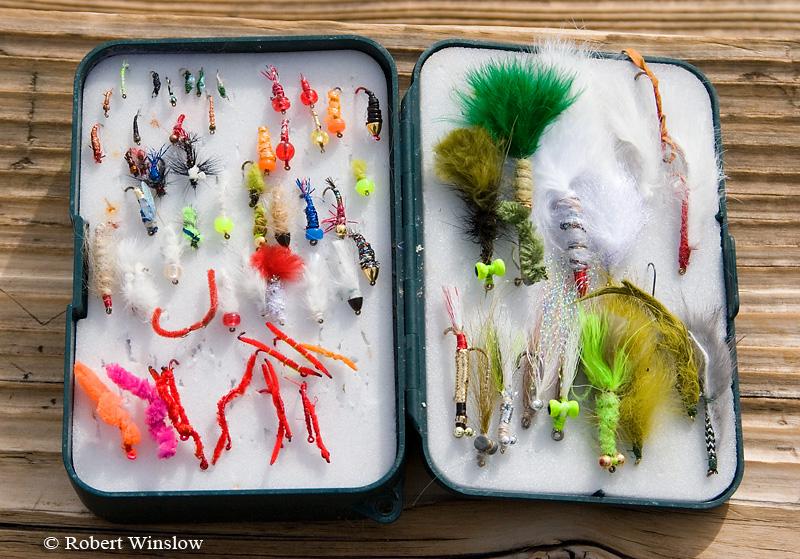 NoMR, Fly Box including San Juan Worms, Fishing, San Juan River below Navajo Reservoir Dam, New Mexico