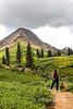 Model Released, (Kim Greer), Wildflowers in Alpine Meadow below Engineer Peak (12,968 feet), San Juan National Forest, Durango, Colorado, early August