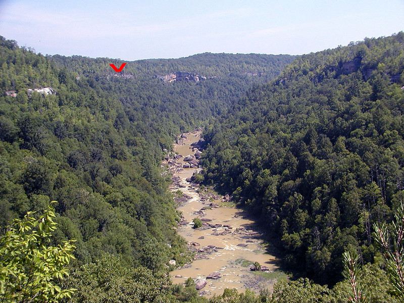 The red arrow indicates the bluff line of the Cumberland Plateau.  The entire area is like this. <br /> They'd be called canyons out west, but here they are called gorges or gulfs.