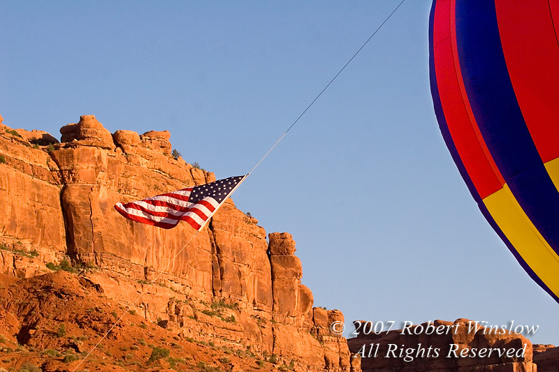 Hot Air Balloon, American Flag, Valley of the Gods, Utah, USA, North America