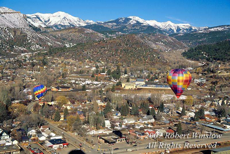 Hot Air Balloons, Winter, Durango, Colorado, USA, North America
