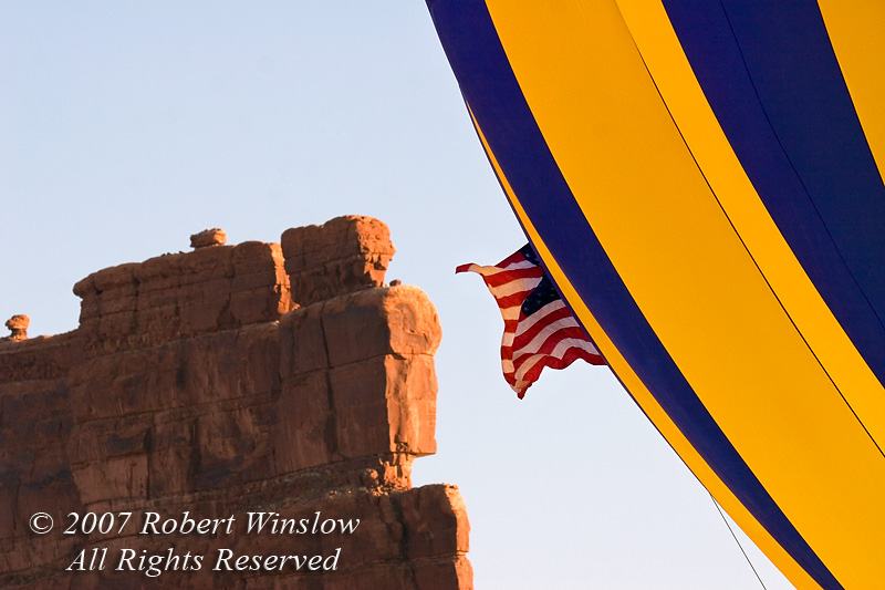 Hot Air Balloon, American Flag, Red Rock Sandstone Butte, Valley of the Gods, Utah, USA, North America