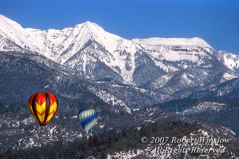 Winter, Hot Air Balloons, Durango, Colorado, La Plata Mountains in the background