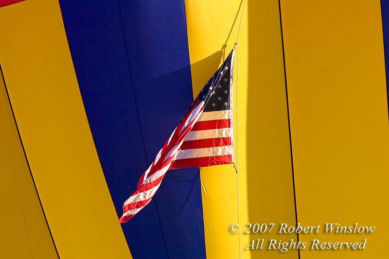 American Flag on Hot Air Balloon, Valley of the Gods, Utah, USA, North America