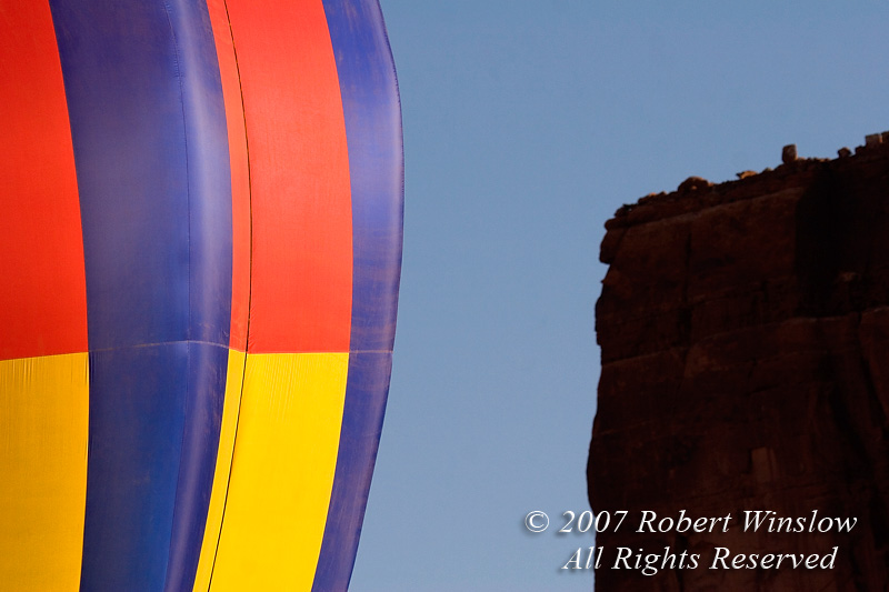 Hot Air Balloon, Sandstone Cliff, Valley of the Gods, Utah, USA, North America