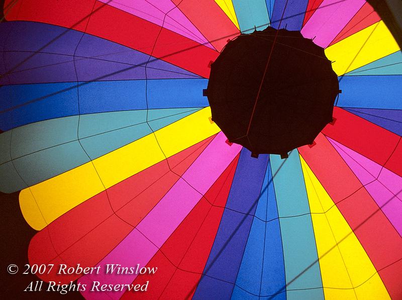 Hot Air Balloon, Interior While Being Inflated, Durango, Colorado, USA, North America