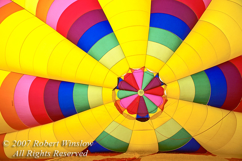 Hot Air Balloon, Interior While Being Inflated, Durango, Colorado, USA, North America