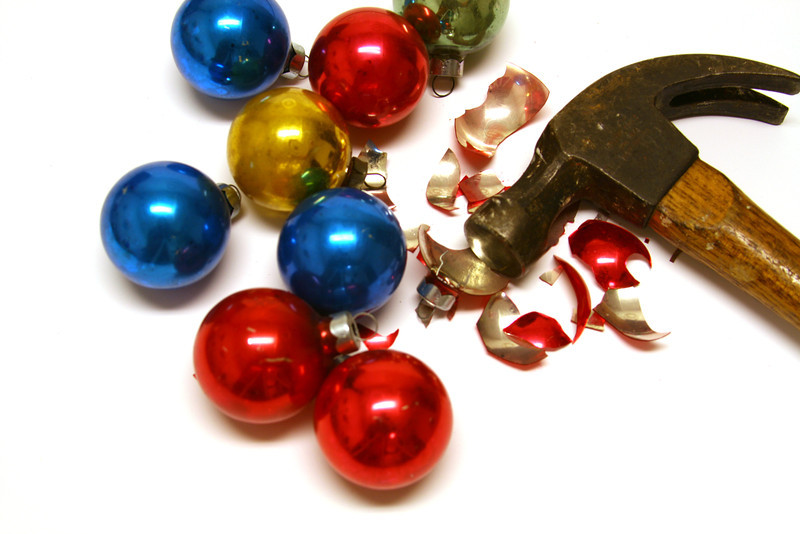 Wreck the halls with Christmas balls and a hammer.