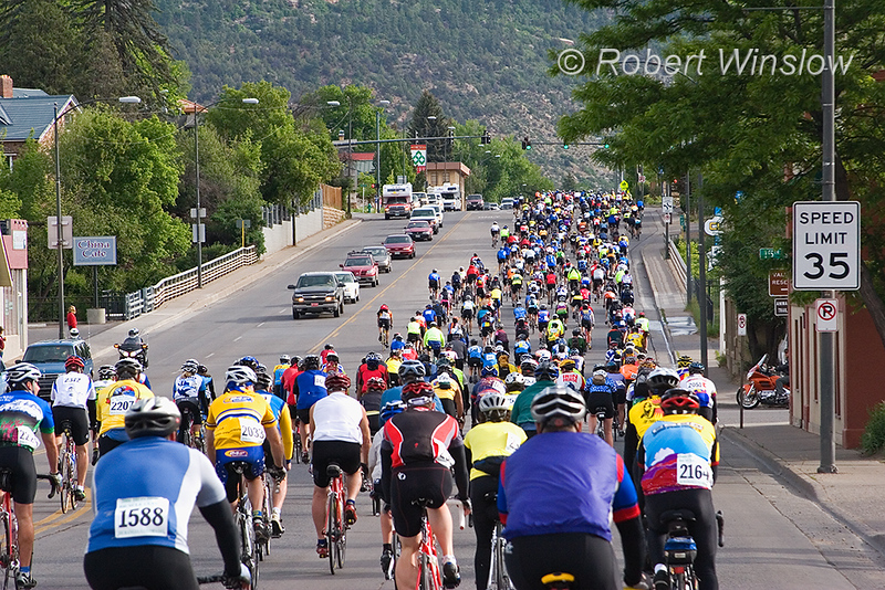 Iron Horse Bicycle Classic, Memorial Day Weekend, Durango, Colorado<br /> Riders on Main Avenue at begiining of Race