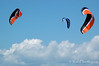 Surfing kites at the 2007 Barmouth Kite Festival, Barmouth, Wales, UK.<br /> © Rob Huntley